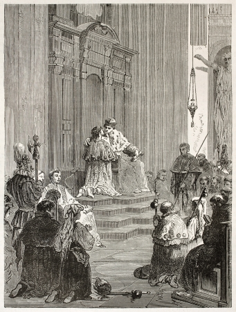 atone: Penance ceremony in Saint-Peter basilica administered by the Pope, old illustration. Created by Neuville after Ulmann, published on Le Tour du Monde, Paris, 1867