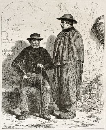 workmen: Pierre Lhote and his father Garnier old engraved portrait, miners in Epinac, France. Created by Neuville after photo of unknown author, published on Le Tour du Monde, Paris, 1867