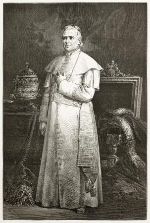 toog: Paus Pius IX oud gegraveerd portret. Gemaakt door Bayard na foto van onbekende auteur, gepubliceerd op Le Tour du Monde, Parijs, 1867 Redactioneel