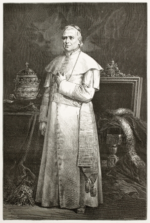pontiff: Pope Pius IX old engraved portrait. Created by Bayard after photo of unknown author, published on Le Tour du Monde, Paris, 1867