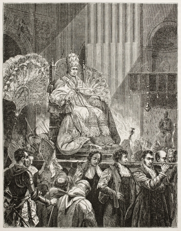 pius: Pope Pius IX extolled in a sedan chait, old illustration. Created by Therond after painting of Vernet, published on Le Tour du Monde, Paris, 1867