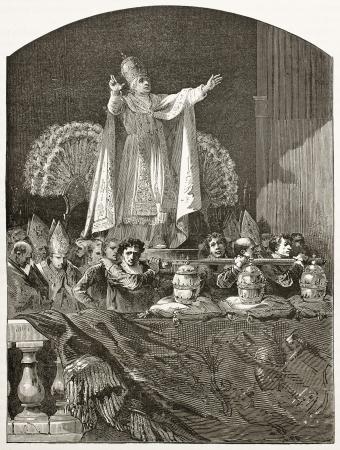ix: Popes blessing old illustration (Pious IX). Created by Bayard, published on Le Tour du Monde, Paris, 1867
