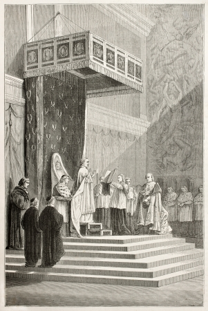 liturgy: Pope officiating at mass in Sistine Chapel (Pious IX). Created by Neuville after Delaunay, published on Le Tour du Monde, Paris, 1867