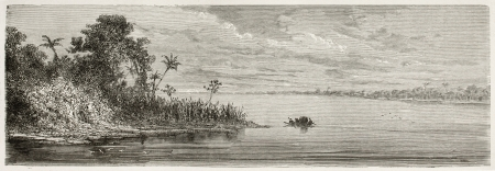 Purus river confluence with Amazon river, Brazil. Created by Riou, published on Le Tour du Monde, Paris, 1867