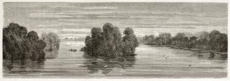 amazon river: Putumayo river confluence into Amazon old view, Brazil. Created by Riou, published on Le Tour du Monde, Paris, 1867