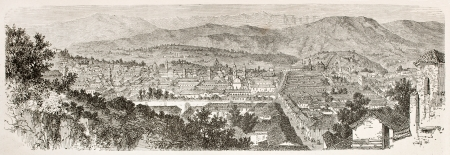 Quito old view, Ecuador. Created by Therond after Charton, published on Le Tour du Monde, Paris, 1867