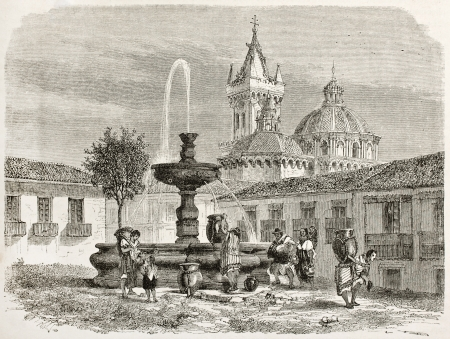 Fountain in a square in Quito and cathedral in background, old illustration, Ecuador. Created by Therond after Charton, published on Le Tour du Monde, Paris, 1867