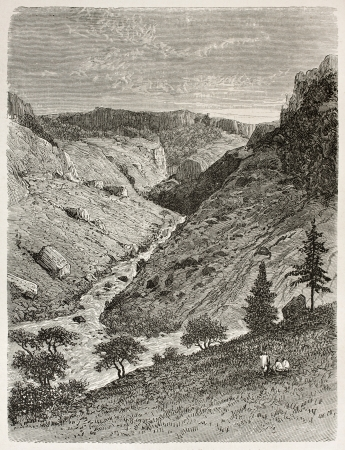 reb: Reb desfiladero del r�o viejo vista. Creado por Ciceri despu�s Lejean, publicado en Le Tour du Monde, Par�s, 1867