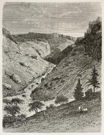 african ancestry: Reb river gorge old view. Created by Ciceri after Lejean, published on Le Tour du Monde, Paris, 1867
