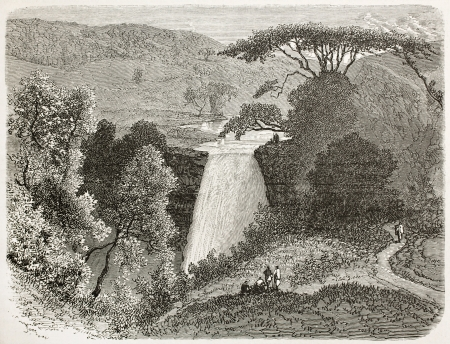 Reb waterflls old view, Abyssinia. Created by Ciceri after Lejean, published on Le Tour du Monde, Paris, 1867