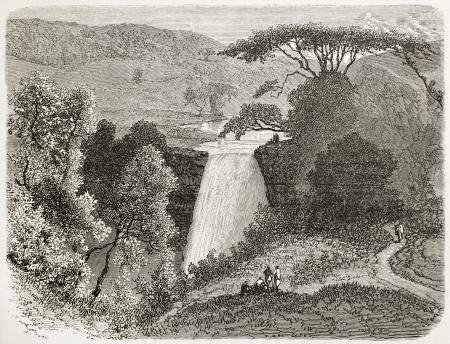 reb: Reb waterflls vieja visi�n, Abisinia. Creado por Ciceri despu�s Lejean, publicado en Le Tour du Monde, Par�s, 1867
