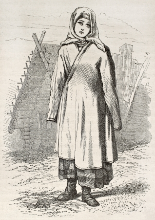 Russian girl old engraved portrait. Created by Moynet, published on Le Tour du Monde, Paris, 1867 Stock Photo - 15180155