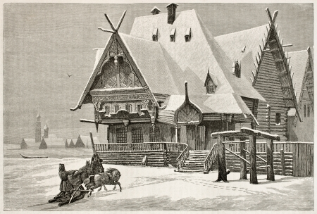 horse sleigh: Old Russian hotel old illustration. Created by Moynet, published on Le Tour du Monde, Paris, 1867 Editorial