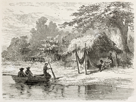 San Mathias Tapera old view, Brazil. Created by Riou, published on Le Tour du Monde, Paris, 1867