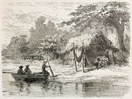amazonas: San Mathias Tapera old view, Brazil. Created by Riou, published on Le Tour du Monde, Paris, 1867