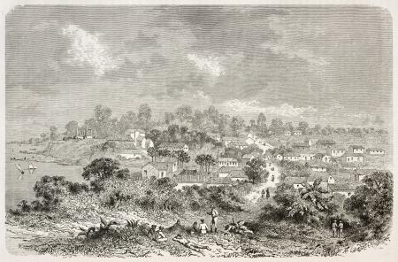 río amazonas: Sao José da Barra do Rio Negro viejo vista panorámica, Brasil (en Manaus días actuales). Creado por Riou, publicado en Le Tour du Monde, París, 1867