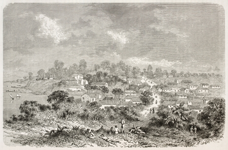 amazon river: Sao Jose da Barra do Rio Negro old panoramic view, Brazil (at present days Manaus). Created by Riou, published on Le Tour du Monde, Paris, 1867