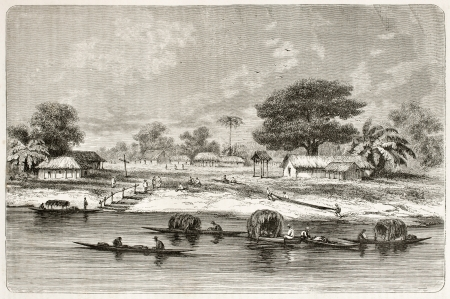 río amazonas: Sao Jose de Matura pueblo viejo punto de vista, Brasil. Creado por Riou, publicado en Le Tour du Monde, París, 1867