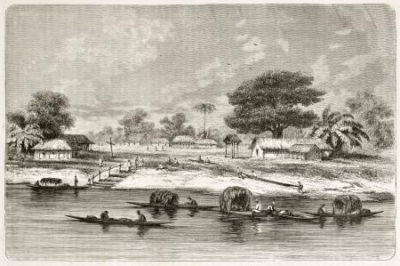 amazonas: Sao Jose de Matura village old view, Brazil. Created by Riou, published on Le Tour du Monde, Paris, 1867