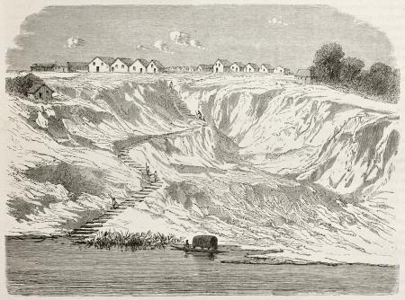 río amazonas: Sao Paulo de Olivenca viejo punto de vista, Brasil. Creado por Riou, publicado en Le Tour du Monde, París, 1867