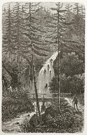 cuve: Saut-de-la-Cuve old view, France. Created by Clerget, published on Le Tour du Monde, Paris, 1867 Editorial