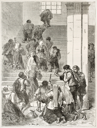 passion of the christ: Pilgrims penitent kneeling on the Scala Sancta (Holy Stairs), Rome. Created by Crepon after Picart, published on Le Tour du Monde, Paris, 1867