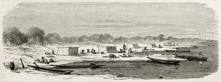 Tefe people searching turtle eggs, Brazil. Created by Riou, published on Le Tour du Monde, Paris, 1867