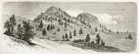 african ancestry: Sikarna old view, Nubia. Created by Ciceri after Lejean, published on Le Tour du Monde, Paris, 1867 Editorial