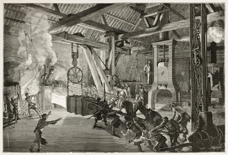 metallurgy: Steam hammer old illustration in Le Creusot foundry. Created by Bonhomme, published on Le Tour du Monde, Paris, 186