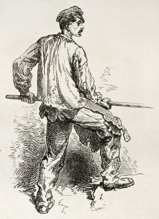 foundry: Steam hammer worker in Le Creusot foundry. Created by Neuville after Bonhomme, published on Le Tour du Monde, Paris, 1867 Editorial