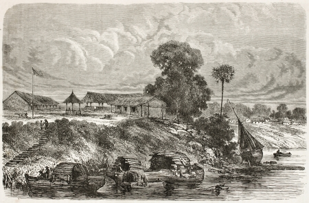 amazonas: Tabatinga old view, Brazil. Created by Riou, published on Le Tour du Monde, Paris, 1867 Editorial