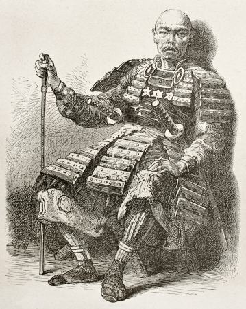 Taikosama old engraved portrait: notable Japanese. Created by Neuville after Japanese painting by unknown author, published on Le Tour du Monde, Paris, 1867