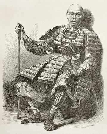 samourai: Taikosama vieux portrait gravé: notables japonais. Créé par Neuville après la peinture japonaise par auteur inconnu, publié sur Le Tour du Monde, Paris 1867 Éditoriale