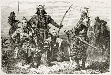 samourai: Taikuns japonais généraux et les officiers de guerre costumes anciens. Créé par Neuville après des peintures et des photos inconnus auteurs japonais, publiées sur le Tour du Monde, Paris, 1867
