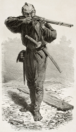 Japanese Taykuns soldier old engraved portrait. Created by Neuville after watercolour of Wirgman, published on Le Tour du Monde, Paris, 1867