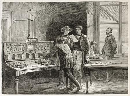 telegraphy: Telegraph office old illustration (Le Crouset workshop, France). Created by Neuville after Bonhomme, published on Le Tour du Monde, Paris, 1867 Editorial