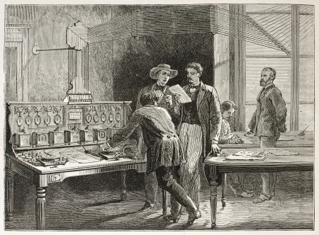 Telegraph office old illustration (Le Crouset workshop, France). Created by Neuville after Bonhomme, published on Le Tour du Monde, Paris, 1867 Editorial