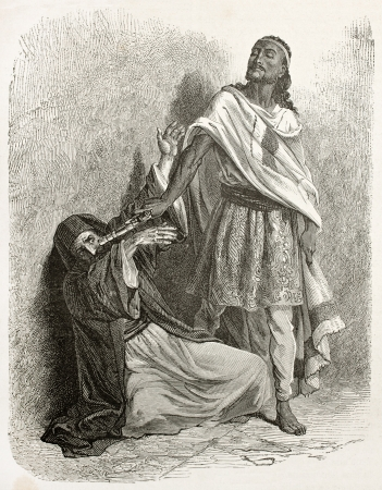 Tewodros II of Ethiopia pointing his gun against the patriarch of Alexandria. Created by Bayard after Lejean, published on Le Tour du Monde, Paris, 1867