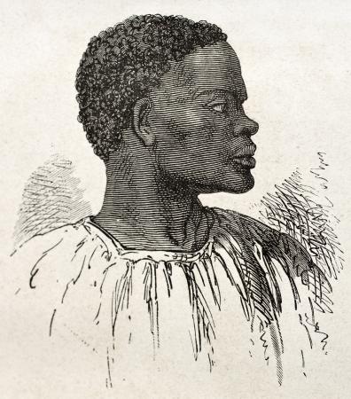 Tribal chief old engraved portrait (southern Sudan region). Created by Neuville, published on Le Tour du Monde, Paris, 1867