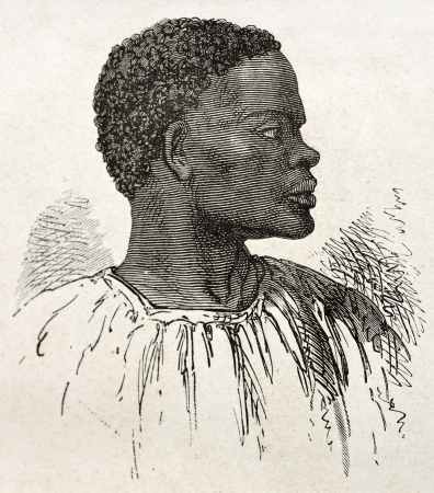 black ancestry: Tribal chief old engraved portrait (southern Sudan region). Created by Neuville, published on Le Tour du Monde, Paris, 1867