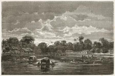 amazon river: Tunantins village old evening view, Brazil. Created by Riou, published on Le Tour du Monde, Paris, 1867
