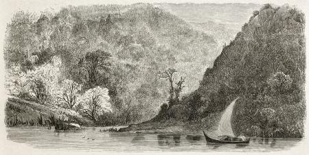 the volga river: Volga bank old view. Created by Moynet, published on Le Tour du Monde, Paris, 1867