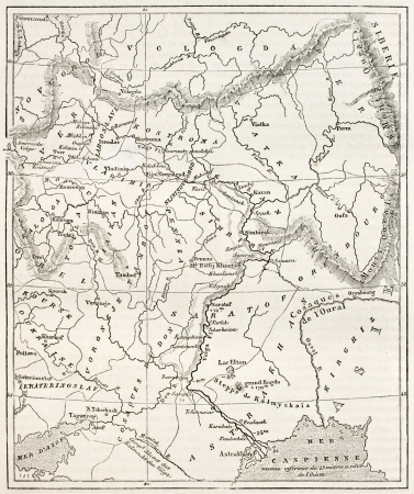 the volga river: Map of the basin of the Volga. By unidentified author, published on Le Tour du Monde, Paris, 1867 Editorial