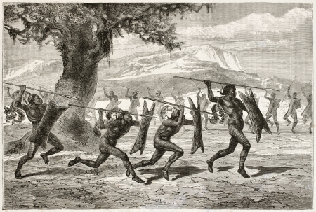 primitive: Obbos tribe warriors war dance. Created by Neuville, published on Le Tour du Monde, Paris, 1867