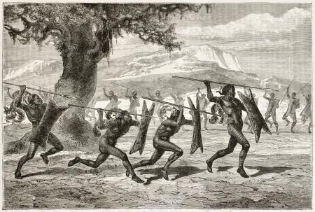 tribu: Obbos tribu guerreros guerra baile. Creado por Neuville, publicado en Le Tour du Monde, París, 1867