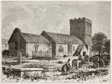 Welsh graveyard old view. Created by Grandsire after Erny, published on Le Tour du Monde, Paris, 1867 Stock Photo - 15180193
