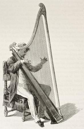 arpa: Arpa músico galés que juega, ilustración edad. Creado por Bayard después de Erny, publicado en Le Tour du Monde, París, 1867
