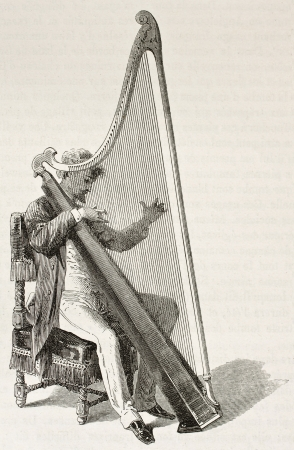 welsh: Welsh musician playing harp, old illustration. Created by Bayard after Erny, published on Le Tour du Monde, Paris, 1867