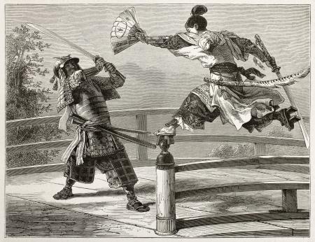 ponte giapponese: Youshitsune combattimento samurai, grande guerriero e popolare nella tradizione giapponese. Creato da Bayard dopo aver dipinto per autore unkonown giapponese, pubblicato su Le Monde du Tour, Parigi, 1867 Editoriali