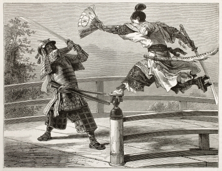 Youshitsune samurai fighting, great and popular warrior in Japanese tradition. Created by Bayard after painting by unkonown japanese author, published on Le Tour du Monde, Paris, 1867